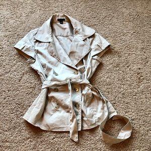Ann Taylor double button khaki blouse with belt